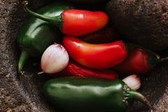 Chilies för en mexikansk sås, kryddig mat i Mexiko royaltyfri bild