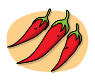 Chilies. A hand drawn vector illustration of chilies,  on  a simple background (the chilies, shadow backdrops, and the background are on separate groups for easy Royalty Free Stock Photos