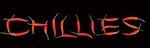 Chilies literuje Chilies Zdjęcia Stock