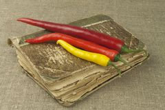 Chilies with an old recipe book. Vegetables ready for home cooking. Stock Photography