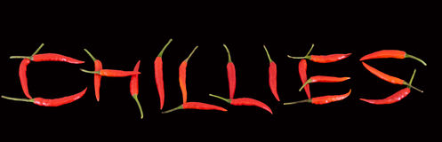 Chilies spelling Chilies Stock Photos