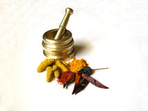 Chilies Turmeric With Mortar 3 Stock Images