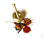 Chilies With Brass Mortar 3 Stock Images