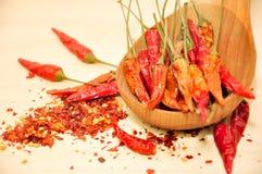 Chiliflinga, torkad chili och rå chili på träskeden arkivbilder