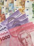 Chilijscy banknoty i euro rachunki obrazy royalty free