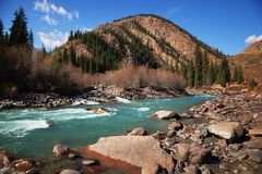 Chilik river in Tyan-Shan mountains Royalty Free Stock Photography
