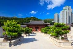 Chilin nunnekloster, tempel för stil för skarp smakdynasti kinesisk, Hong Kong, arkivbild