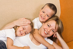 Chiling with the kids Stock Photo
