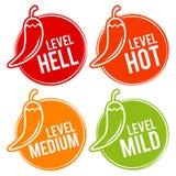 Chilipeppar graderar milda, medel-, varma och helvetesymboler Vektor Eps10 vektor illustrationer
