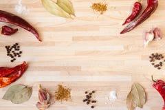 Chilipeppar, lagerblad, svartpeppar, vitlök som är salt Royaltyfri Bild