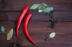 Chilipeppar och kryddor på mörkt trä Fotografering för Bildbyråer