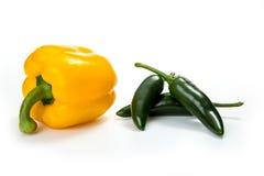 Chilipeppar, på vit Royaltyfria Bilder
