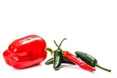 Chilipeppar, på vit Royaltyfri Fotografi