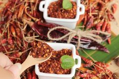 Chilipulver und getrocknete Pfeffer auf hölzernem Hintergrund Stockbilder