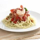 Chiliräka och tomatspagetti Fotografering för Bildbyråer