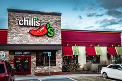 Chilis Bar and Grill Entrance. York, PA - December 30, 2016: Chili`s bar and grill is a casual restaurant that specializes in Mexican cuisine Royalty Free Stock Photo