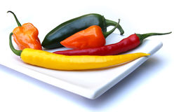 Chilis on a plate Royalty Free Stock Image