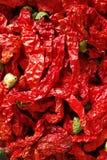 Chilis rouge sur le fond noir Images stock