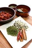 Chilis secos, arroz salvaje, haba verde y palillos de cinamomo. Fotografía de archivo