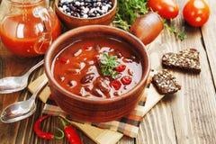 Chilisoppa med röda bönor och gräsplaner Arkivbild