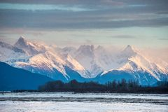 Chilkat River and Mountains in snow on a sunrise. Stock Image