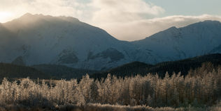The Chilkat Valley under a covering of snow Stock Photos
