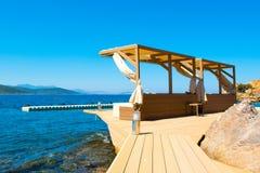 Chill зона салона на песчаном пляже Стоковые Изображения