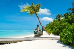 Chill зона салона на песчаном пляже Стоковые Фотографии RF