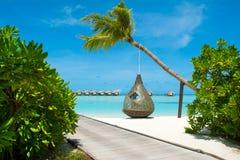 Chill зона салона на песчаном пляже Стоковые Изображения RF
