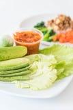 Chill соус при свежие установленные овощи Стоковое Изображение