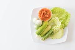 Chill соус при свежие установленные овощи Стоковая Фотография RF