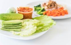 Chill соус при свежие установленные овощи Стоковое Фото