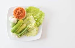 Chill соус при свежие установленные овощи Стоковая Фотография