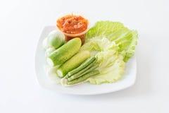 Chill соус при свежие установленные овощи Стоковые Изображения