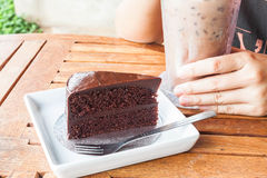 Chill with iced coffee and chocolate cake Royalty Free Stock Photo
