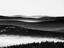 Chill inverse weather in winter mountains, heavy mist. Valley full of fog. Peaks of mountains above creamy mist stock photo