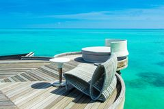 Chill lounge zone. Over water of Indian ocean, Maldives island Royalty Free Stock Image
