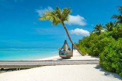 Chill lounge zone. On the sandy beach, Maldives island Royalty Free Stock Photos
