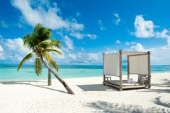 Chill lounge zone. On the sandy beach, Maldives island Stock Photo