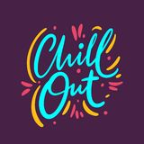 Chill Out hand drawn vector lettering phrase. Modern typography. Isolated on purple background. Design for holiday greeting cards, logo, sticker, banner stock illustration