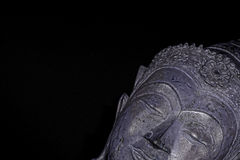 Chill out. Modern spirituality with buddhism. Silver sleeping bu. Ddha head at an angle against black background with with copy space. High contrast contemporary Royalty Free Stock Photos