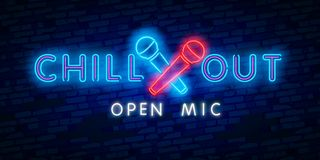 Chill out, open mic. Party, tourism and vacation advertisement design. Night bright neon sign, colorful billboard, light banner. Chill out. Party, tourism and vector illustration