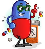 Chill Pill Cartoon Character Royalty Free Stock Images