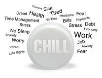 Chill Pill with Text. A white isolated pill has the word chill on it with text around the pill describing emotions from worry to the economy. The pill represents Stock Photos
