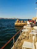 Chilling. Chill spot cafe in Lisbon, Portugal. Sunset royalty free stock image