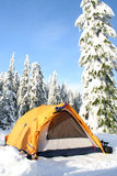 Chilled. A tent set up in a winter wonderland royalty free stock images