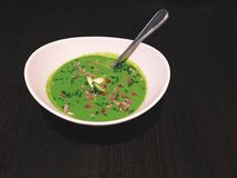 Chilled asparagus soup topped with chives and chive flowers Stock Photography