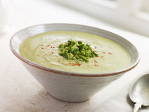 Chilled Avocado Chilli and Cumin Soup Royalty Free Stock Photos