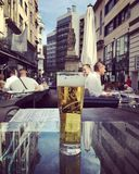 Chilled Beer in Budapest. Enjoying the view of the city square in Budapest Stock Photography