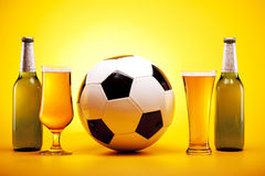 Chilled beer and sport. Perfectly chilled beer just on your table stock photography